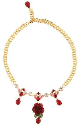 Dolce & Gabbana Crystal-embellished rose necklace