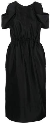Ports 1961 pleated cold-shoulder midi dress