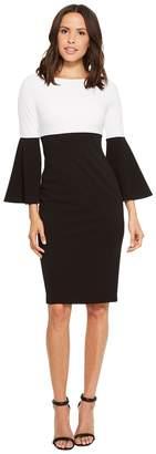 Calvin Klein Color Block Bell Sleeve Dress CD8C15HU Women's Dress