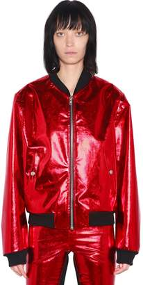 Gareth Pugh Metallic Faux Leather Bomber Jacket