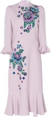 Andrew Gn Floral-Appliquéd Crepe De Chine Midi Dress
