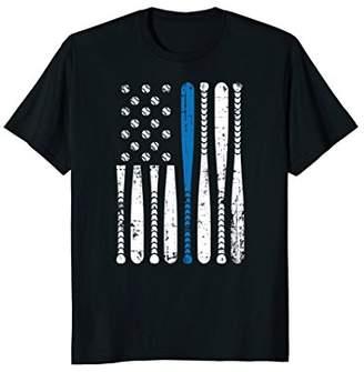 Thin Blue Line LEO USA Flag Police Support Baseball Bat Tee