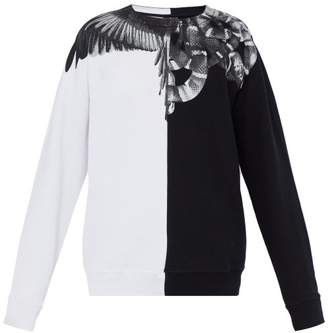 Marcelo Burlon County of Milan Wings And Snake Print Cotton Sweatshirt - Mens - Black Silver