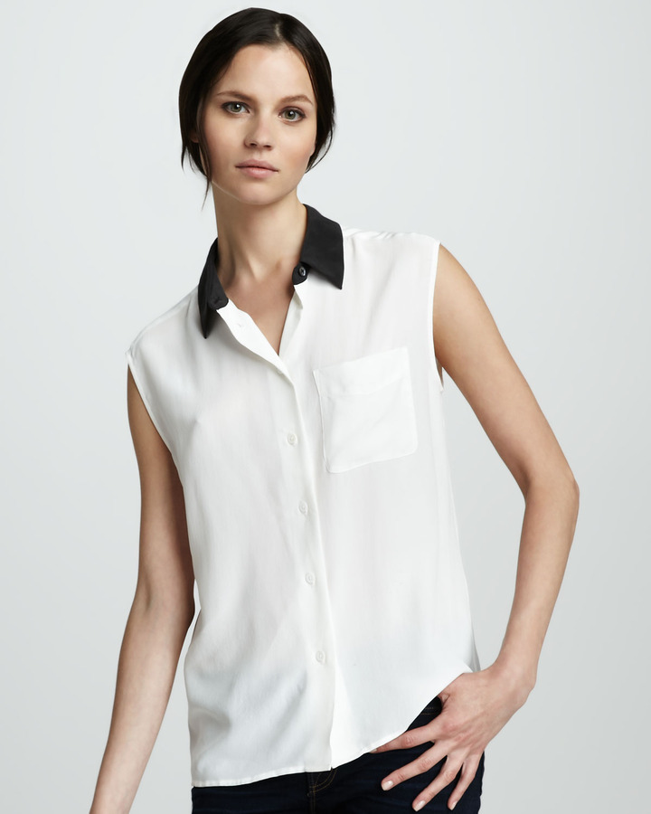Equipment Contrast-Collar Blouse