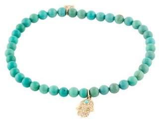 Sydney Evan 14K Turquoise Bead & Diamond Hamsa Bracelet