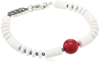 King Baby Studio - White Shell Bead Bracelet with a Round Red Coral Bead Bracelet $215 thestylecure.com