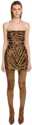 Balmain Tiger Sequined Bustier Mini Dress
