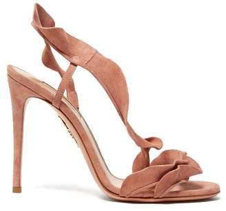 Aquazzura Ruffle 105 Suede Sandals - Womens - Pink