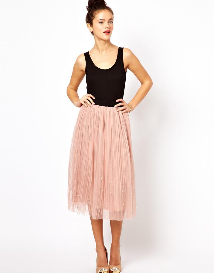 Darling Mesh Midi Skirt with Pearl Embellishment