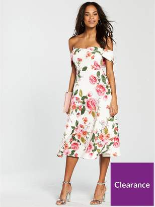 Very Bardot Scuba Prom Dress - Pink Print