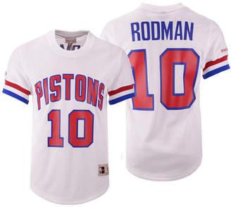 Mitchell & Ness Men's Dennis Rodman Detroit Pistons Name and Number Mesh Crewneck Jersey