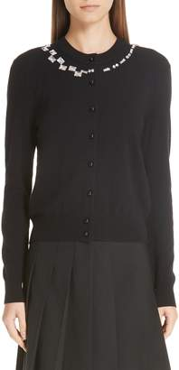 Marc Jacobs Crystal Neck Wool & Cashmere Cardigan