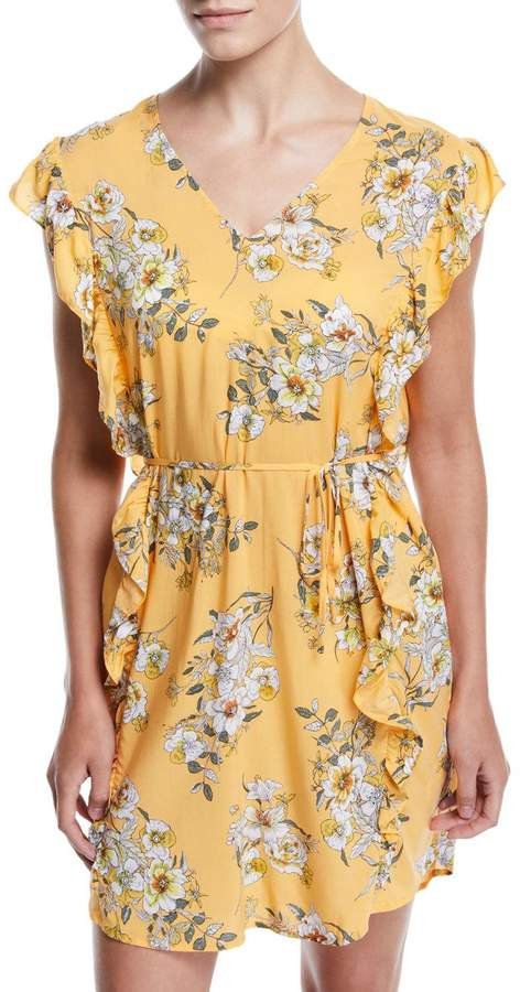 Midsummer Floral Ruffle Coverup Tunic Dress