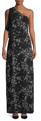 Halston H Printed Ruffle One-Shoulder Gown