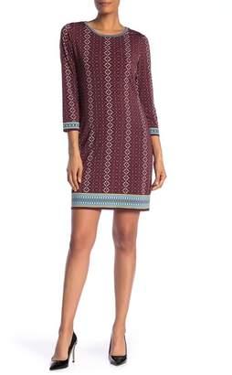 Max Studio Printed 3\u002F4 Sleeve Shift Dress