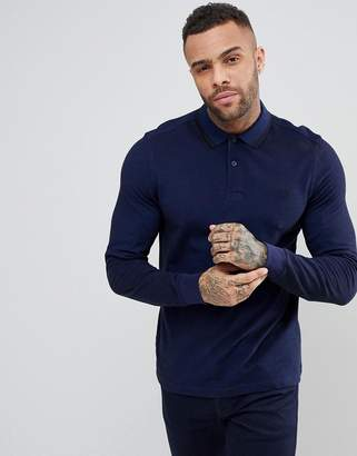 Fred Perry Long Sleeve Slim Fit Twin Tipped Polo Shirt In Blue