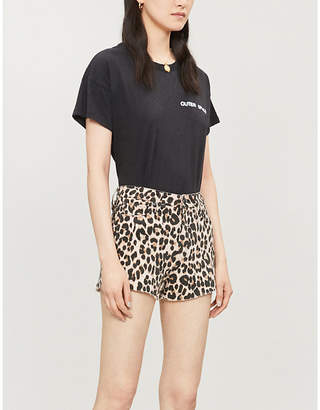 Paige High-rise leopard-print stretch-denim shorts