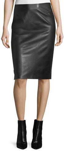 Ralph Lauren Collection Cynthia Leather Pencil Skirt