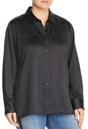 Lysse Plus Brinkley Satin Button-Down Top