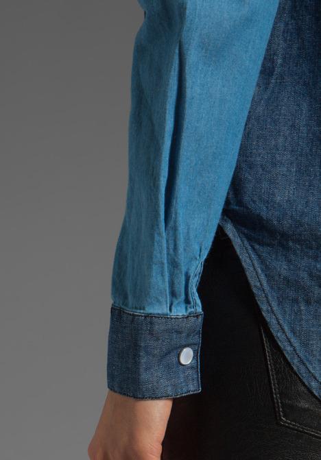 American Retro Eddy Long Sleeve Button Up in Celeste/Blue