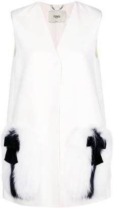 Fendi fur-patch tailored waistcoat