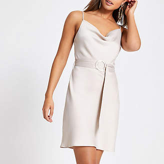 River Island Beige cowl neck belted slip dress
