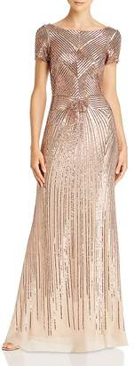 Aqua Sequin Boat-Neck Gown - 100% Exclusive