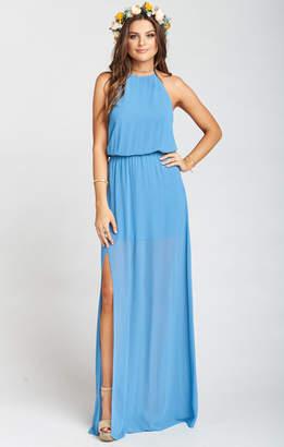 Show Me Your Mumu Heather Halter Dress ~ Coastal Blue Chiffon