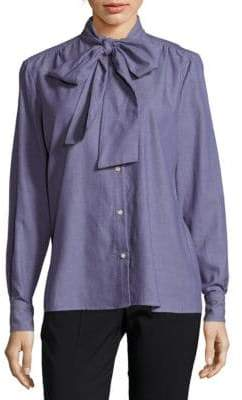 Petersyn Olivia Cotton Bow-Neck Shirt