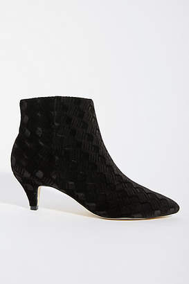 Anthropologie Velvet Kitten-Heeled Booties