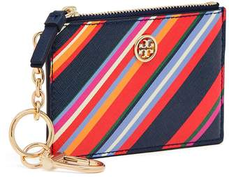 Tory Burch ROBINSON STRIPED CARD CASE KEY RING