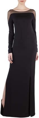 Akris Tulle-Shoulder Silk Crepe Gown