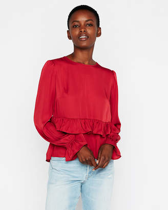 Express Long Sleeve Ruffle Peplum Blouse