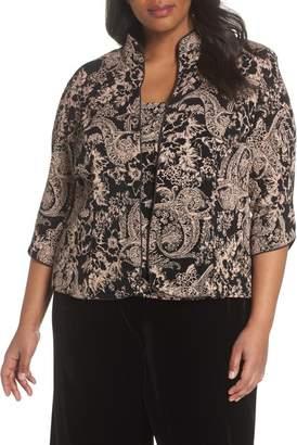 59f6ee3119596 Alex Evenings Glitter Print Top   Jacket (Plus Size)