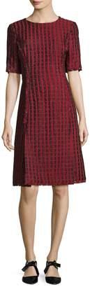 Oscar de la Renta Women's Grid Print A-Line Dress