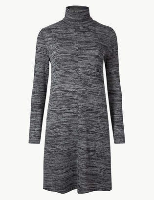 Marks and Spencer Textured Long Sleeve Shift Mini Dress