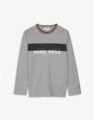 BOSS Logo stripe cotton long-sleeved top 4-16 years