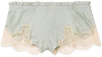 Carine Gilson Flottant Chantilly Lace-trimmed Silk-satin Shorts - Gray green