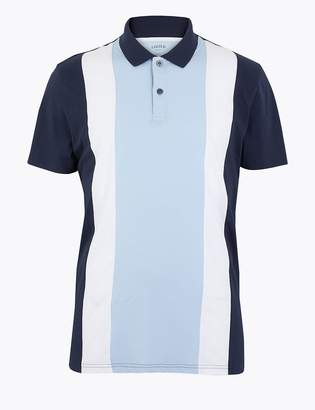 Marks and Spencer Pure Cotton Colour Block Polo Shirt
