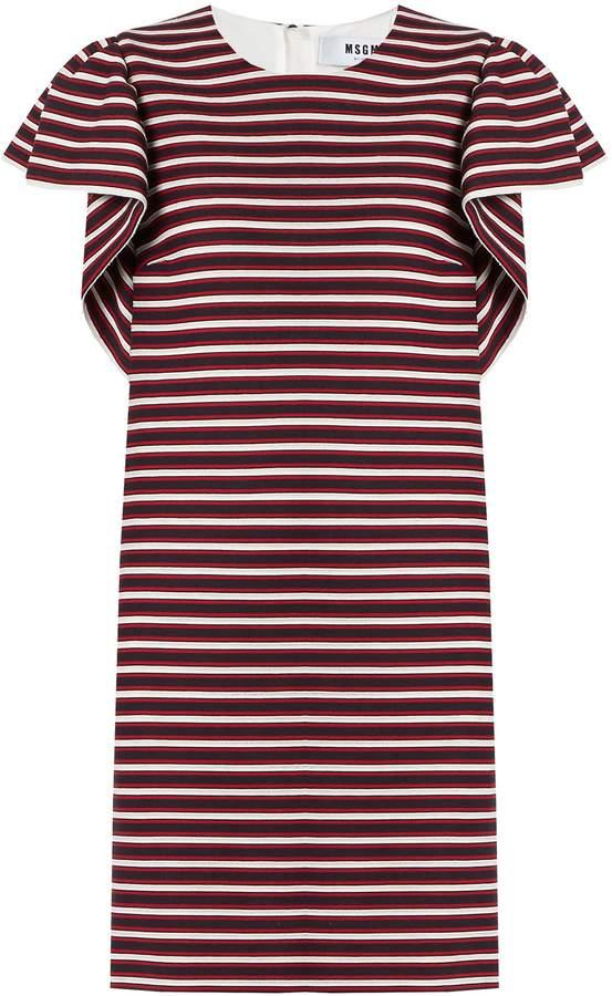 MSGM Ruffled-sleeve striped-panel cotton-blend dress