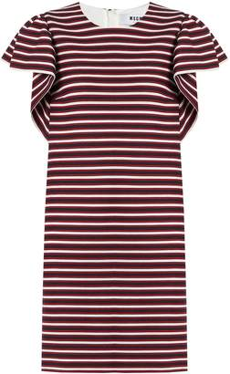 MSGM Ruffled-sleeve striped-panel cotton-blend dress