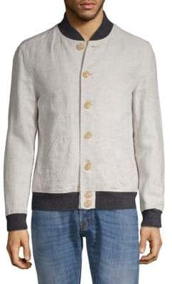 John Varvatos Aged Rib Trim Cotton & Linen Bomber Jacket