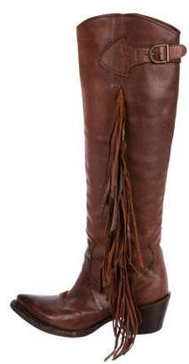 Ash Leather Fringe Knee-High Boots
