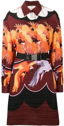 Fendi parrot print shirt dress