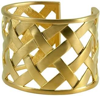 Kenneth Jay Lane Gold Basket Weave Cuff Bracelet Bangle