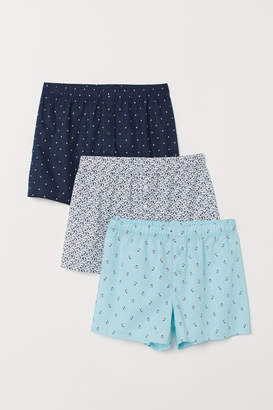 H&M 3-pack Woven Boxer Shorts - Turquoise