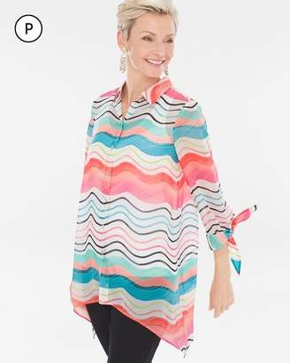 Chico's Chicos Petite Watercolor Striped Tie-Sleeve Shirt