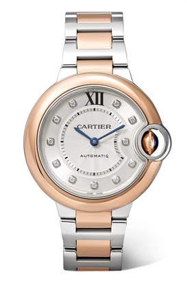 Cartier Ballon Bleu De 33mm 18-karat Pink Gold, Stainless Steel And Diamond Watch - Rose gold