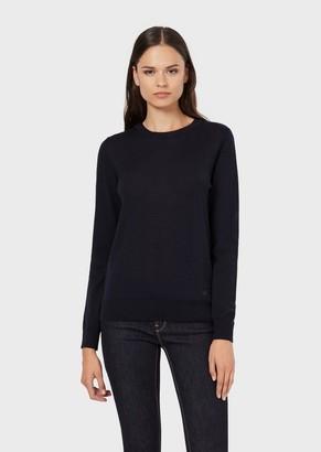 Emporio Armani Plain Knit Pure Virgin Wool Crew-Neck Jumper