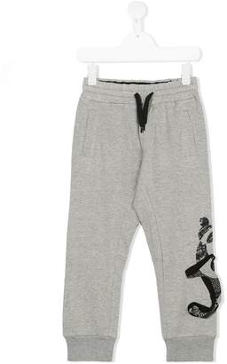 John Galliano three dimensional logo track pants